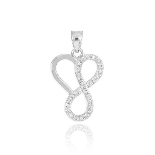 - Fine 14k White Gold Diamond Infinity Heart Charm Pendant