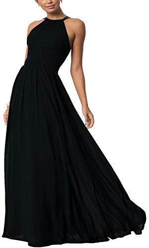 Aofur Womens Sleeveless Party Wedding Dresses Evening Cocktail Prom Gown Summer Chiffon Maxi Dress (Large, Black)