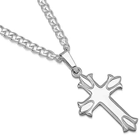 9ea3b5774db6ee XP Jewelry Sterling Silver Budded Cross Pendant Italian Made Curb Chain  Necklace - Choice of Sizes