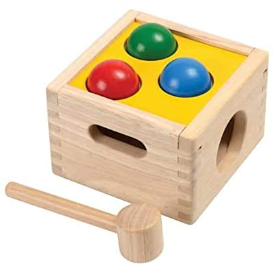 PlanToys Wooden Punch & Drop Pounding Bench (9424) | Sustainably Made from Rubberwood and Non-Toxic Paints and Dyes: Toys & Games