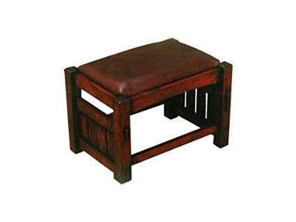 (Crafters and Weavers Mission Oak Foot Stool Leather Upholstered)