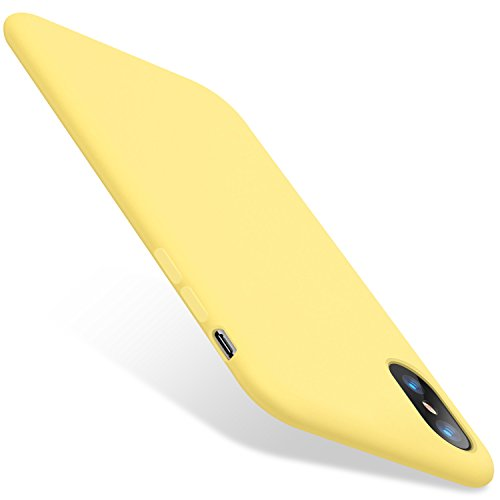 TORRAS [Love Series] iPhone X Case 2017 (ONLY), Liquid Silicone Gel Rubber Shockproof Case Soft Microfiber Cloth Lining Cushion Compatible with iPhone X (2017), Yellow