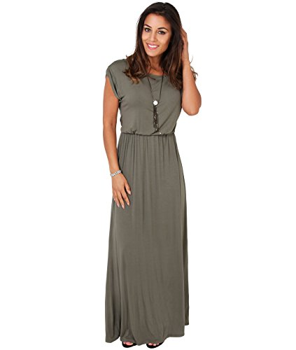 3269-KHA-12: KRISP Maxi Dress,Khaki,UK 12/US - Jersey Dress Maxi