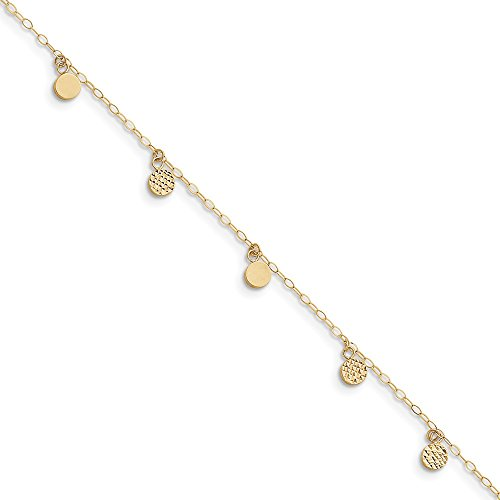 (Mia Diamonds 14k Solid Yellow Gold Hollow Dangle Circle with 1in Ext Anklet Bracelet -10