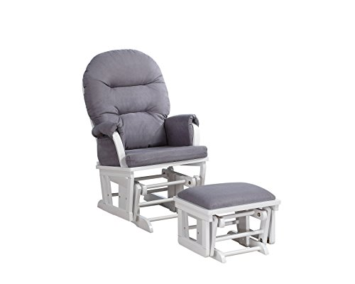 Shermag Contemporary Style Rocker and Ottoman Glider, White with Grey by Shermag
