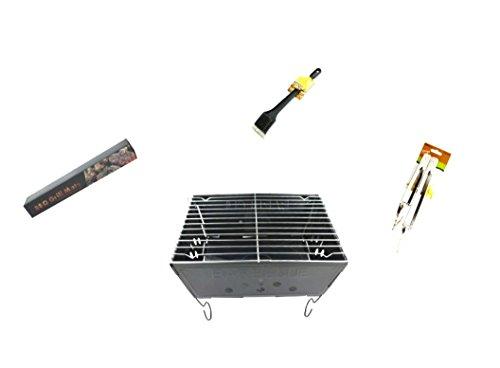 Kole Portable Barbecue 4 PC Set, Grill Tongs Grilling Mat & Scrub Brush