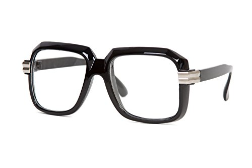 Hip Hop Rapper Retro Large Clear Lens Eye Glasses Black