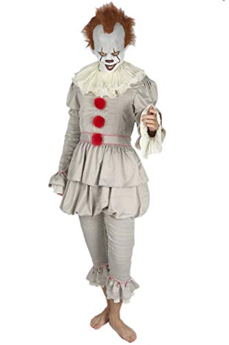Pennywise Mask and Costume Outfit Suit for Mens Halloween XXL