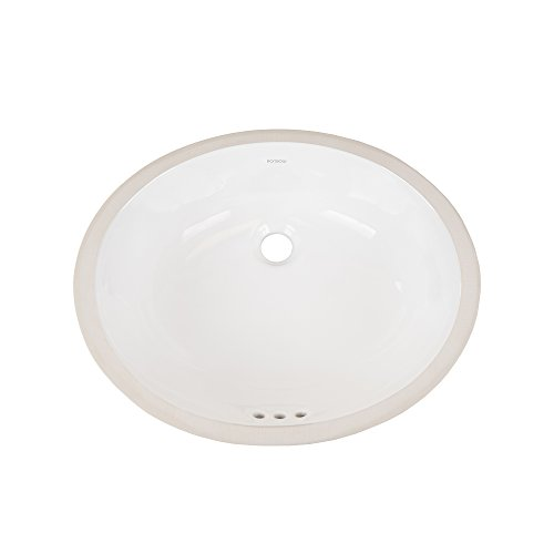 RONBOW Halo 20 Inch Oval Undermount Ceramic Vessel Bathroom Vanity Sink in White 200513-WH (Ronbow Ceramic Oval)