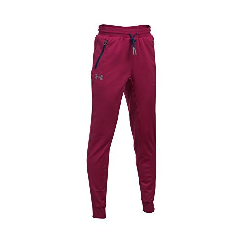 Under Armour Boys' Pennant Tapered Pants, Youth Large, Black Currant/Steel