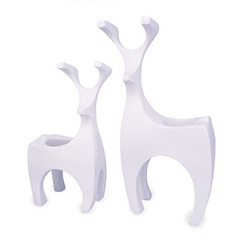 Set of 2 Decorative Romantic Perfect Homer Decor Deer Candle Holders (White)