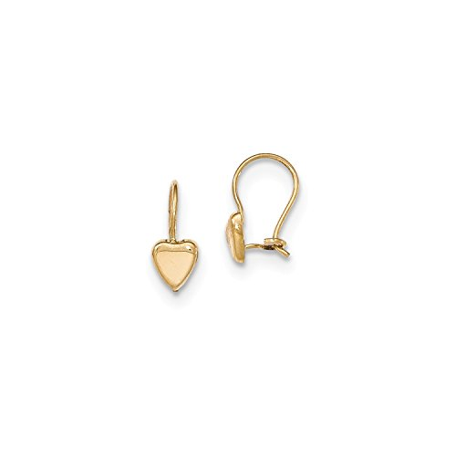 Roy Rose Jewelry 14K Yellow Gold Madi K Polished Heart Kidney Wire Earrings by Roy Rose Jewelry