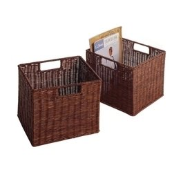 Winsome Wood 92211 Leo Antique Walnut Small Wired Basket- Set of (2 Small Wired Baskets)
