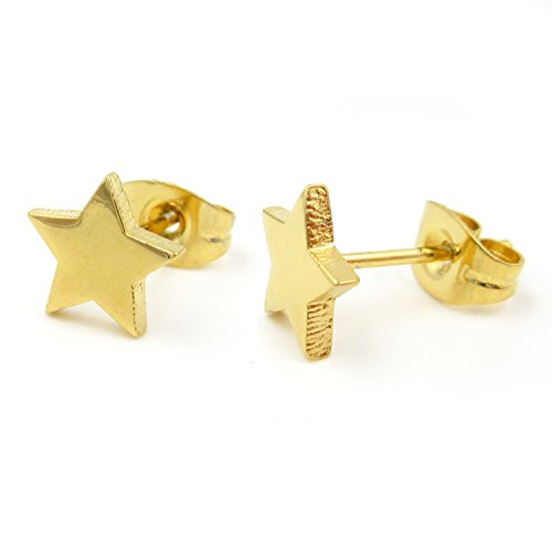 Pair Stainless Steel Gold Color Star Post Stud Earrings