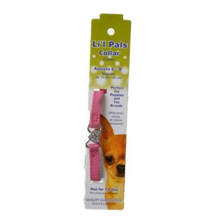 Li'l Pals Suede Jewel Bow Collar Pink - 8 Long x 5/16 Wide (15 Pack)