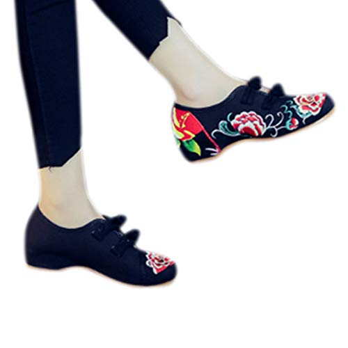 Noir Femmes Chaussures Dans Yefree Chinois Pour Brodées Un Style pUqnw78