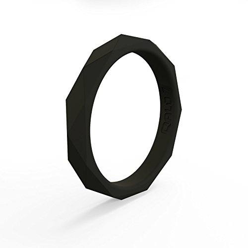 QALO Women's Jet Black Geo Stackable Silicone Ring Size 06 ()