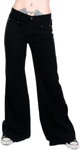 Ladies 60s 70s Disco Retro Black Stretch Hippy Wide Leg BellBottoms Super Flares
