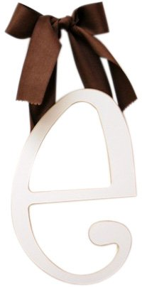 New Arrivals Wooden Letter E with Solid Brown Ribbon, Cream