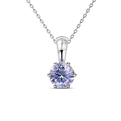 Cate & Chloe White Gold Birthstone Necklace, 18k Gold Plated Necklace with 1ct Alexandrite Birth Stone Swarovski Crystal, June Birthstone Jewelry for Women