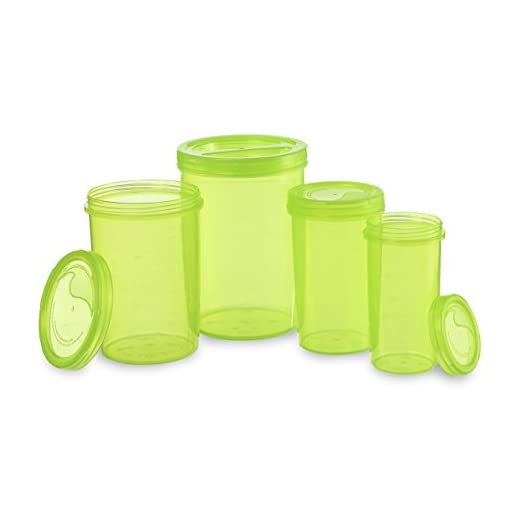 All Time  Iris Plastic Container Set, 4-Pieces, Green