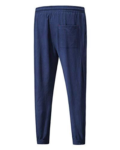 Hombres Para Casual Cintura Battercake Y Cómodo Elástica De Largos Pantalones Casuales Sueltos Lino Ligeros Playa Dunkelblau Cómodos Con Cordón Rectas nYxqYwO