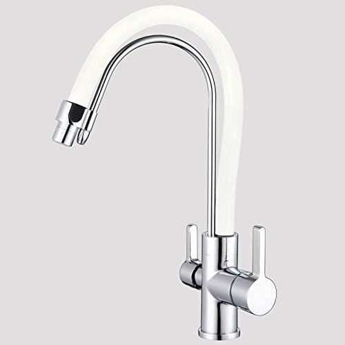 ZXZV Mejoras for el hogar Materiales de construcción Tres Funciones fregaderos de Cocina fría y Caliente Grifos de Agua purificador de Agua Potable, Llave de Llave (Color : White, Size : A):