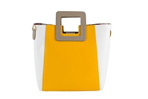 Luxurious, Borsa tote donna Bianco weiß/gelb/grau