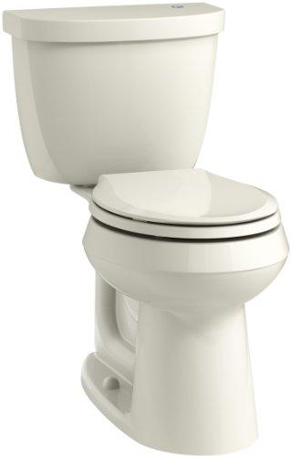 (KOHLER K-6419-96 Cimarron Touchless Comfort Height 2-piece 1.28 GPF Round Toilet with AquaPiston Flushing Technology, Biscuit)