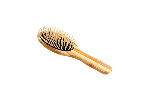 The Green Brush | Style & Detangle Pet Brush | 100% Bamboo Pin | Pure Bamboo Handle | Small Oval | Striped Finish | Model 15P by Bass Brushes