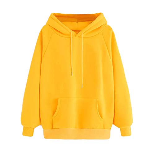 Women's Casual Basic Pullover Hooded Sweatshirt Hoodie for Girls Long Sleeve Pullover Tops Blouse with Pocket Yellow