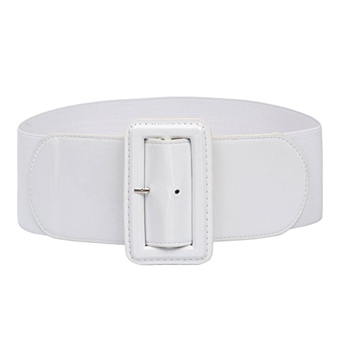 Waist Wide Patent Fashion Plain Leather Belt White ()