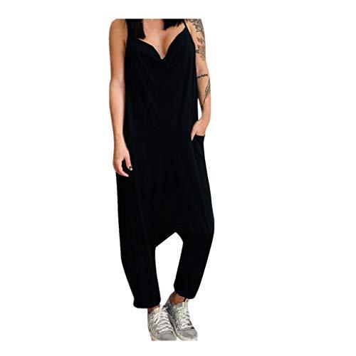 Women's Rompers Thin Strap Lagenlook Romper Baggy Harem Jumpsuit Loose Trousers Wide Leg Pants Playsuit Black
