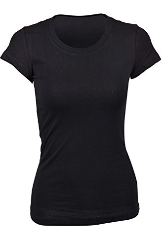 TheLovely Casual Basic Plain Crew Neck Stretch Short Sleeve Workout Tee Shirt Top (Black, Large)