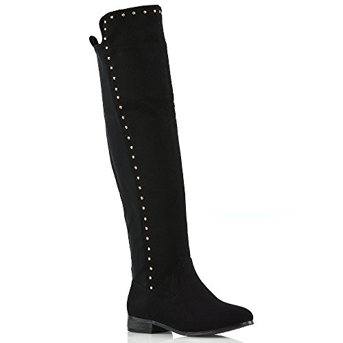 ESSEX GLAM Womens Over The Knee Gold Stud Trim Stretchy Calf Casual Flat Ladies Boots Size Black Faux Suede