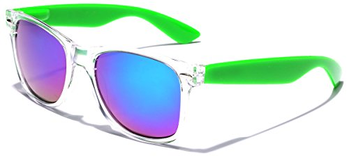 Colorful Two Tone Wayfarer Sunglasses - Crystal Clear Translucent Frame with Color Mirror Lens - Clear & - Crystal Frame Sunglasses