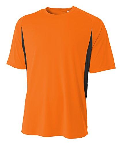 A4 Mens Cooling Performance Color Block Short XL, Safety Orange/Black