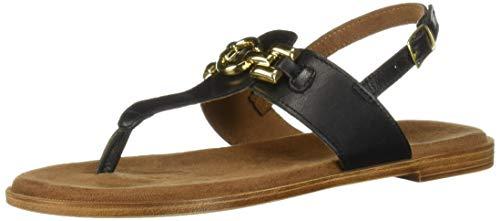 (Bella Vita Women's Lin-Italy Thong Sandal Shoe, Black Italian Leather, 9 M US)