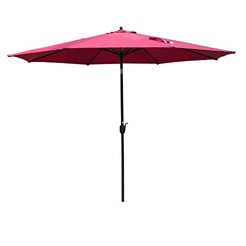 Sundale Outdoor 11 Feet Round Market Patio Umbrella Bronze Aluminum Pole, Push Button Tilt with Crank, Fade Resistant Polyester Canopy (Red)
