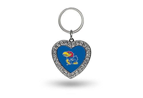 Rico NCAA Kansas Jayhawks Rhinestone Heart Keychain