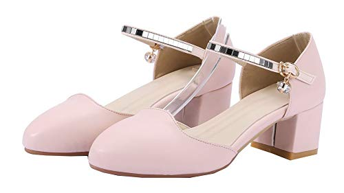 Tacco GMMDB010591 Ballet Fibbia Donna Puro Rosa Luccichio Medio AgooLar Flats YBE8Fx