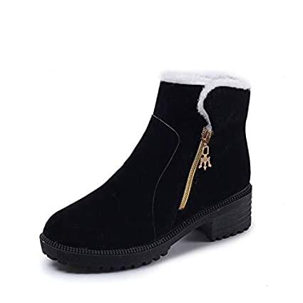 HRCxue Zapatos de la Corte Botines de Gamuza Botines para la Nieve cá lidos má s Terciopelo Tubo bajo Gamuza Cremallera Lateral Hembra