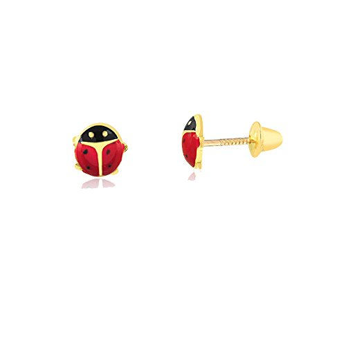Carol Jewelry 14k Yellow Gold Red Enamel Ladybug Screw Back Safety Stud Earrings for Children, Babies and -