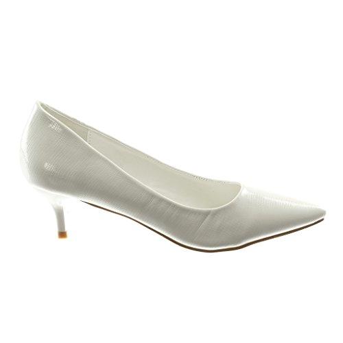 Decolleté Haut Aiguille 5 Chaussure Mode on Angkorly Croco Verni Femme Escarpin Talon Slip Blanc Stiletto 5 Cm PYB7Sw