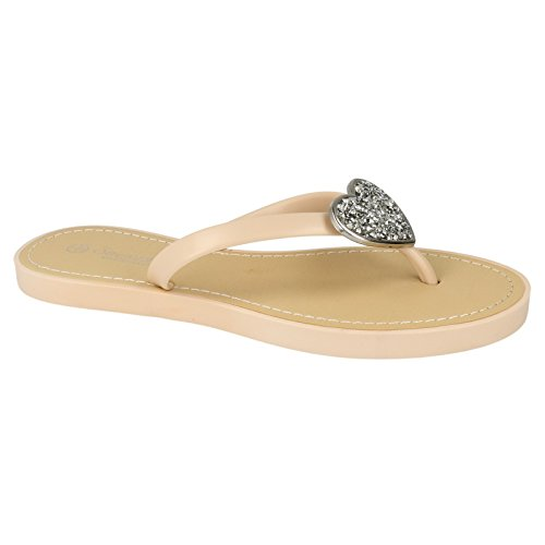 Savannah Nude Flip Toe Sparkling Ladies Open Flops Womens Heart UqwU1rz