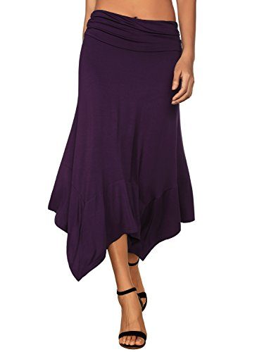 (DJT Women's Flowy Handkerchief Hemline Midi Skirt Medium Purple)