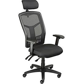 Multifunction Office Chair With Adjustable Headrest, Mesh Back, Fabric Upholstered Seat ()