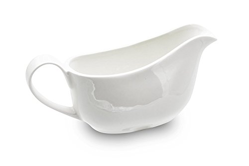 Nucookery Large 17 Oz Gravy Boat With Ergonomic Handle | White Fine Porcelain Saucier With Big Dripless Lip Spout | For Gravy, Warming Sauces, Salad Dressings, Milk, & More | Microwave & Freezer Safe (Glass Gravy Boat With Ladle)