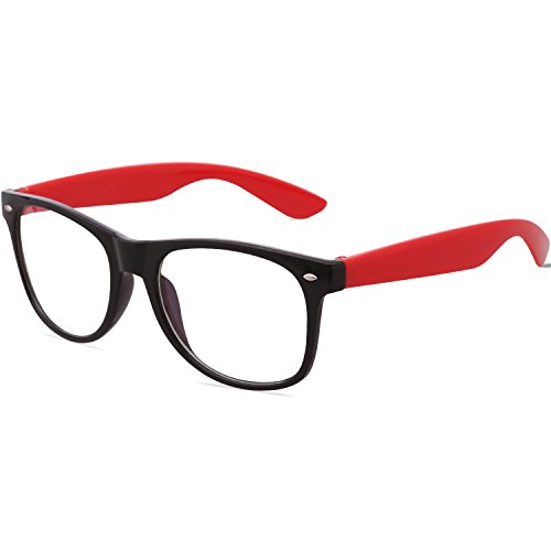 Amomoma Unisex Wayfarer Non-prescription Glasses Frame Clear Lens Eyeglasses AM5015 With Black Frame/Red - Non Designer Glasses Cheap Prescription