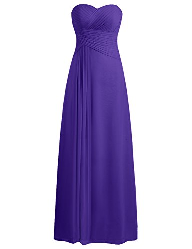 (Bridesmaid Dress Prom Dresses Long Sweetheart Chiffon Evening Gown Pleat Strapless Regency XS)